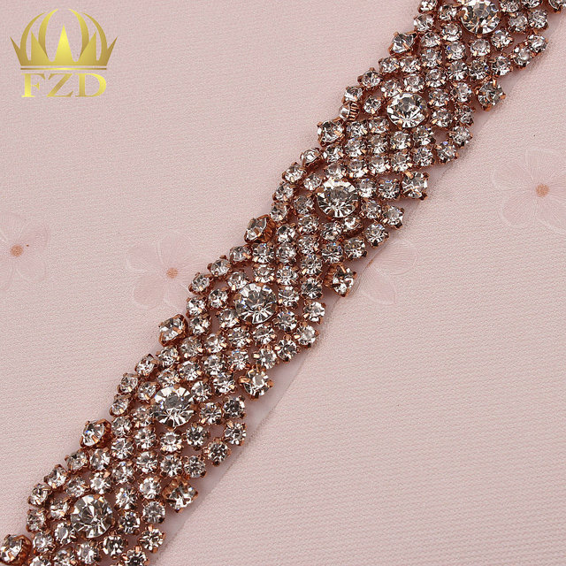 (10yards) Wholesale Stunning 1 Yard Rose Gold Sewing On Crystal Beaded Iron  On Bridal Sash and Belt Rhinestone Applique Trim 574973b78c08