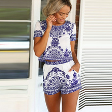 Bigsweety Women Sets Blue And White Porcelain Printing Summer Casual Women's Sui