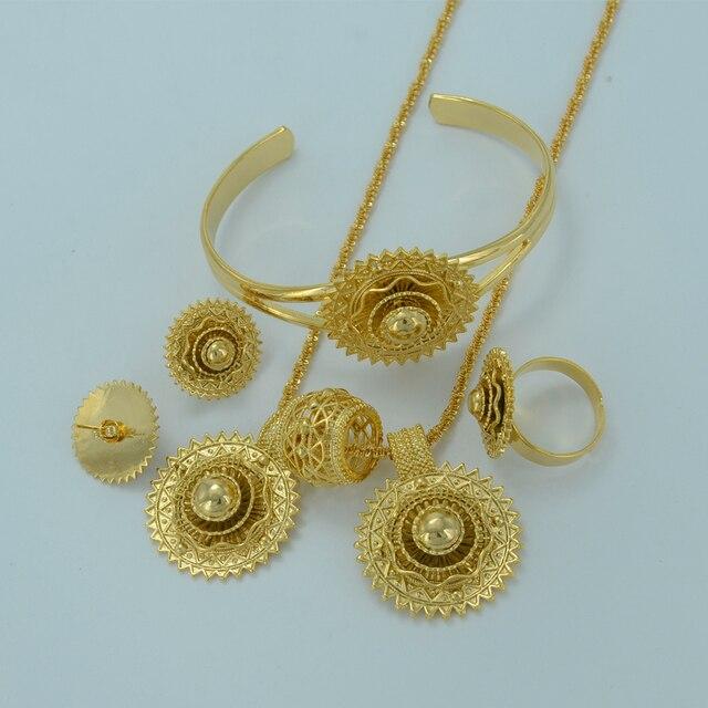 Новый Эфиопский Золотые Ювелирные Изделия Устанавливает Ожерелье Серьги Кольца Браслет Эритрейских Традиционный Стиль Ювелирных Изделий Африканская Свадьба #002401