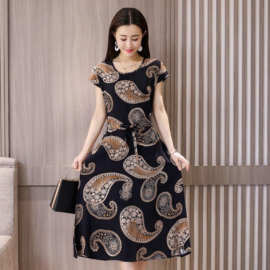 540ab1b56ea70c4 Купить 2018 новые женские стильные летние платья с круглым вырезом с  цветочным принтом Длинное Платье женское с коротким рукавом плюс размер  femme пла.