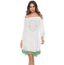 ruffles fringe vintage embroidered dress slash neck white sweet dresses elegant dress