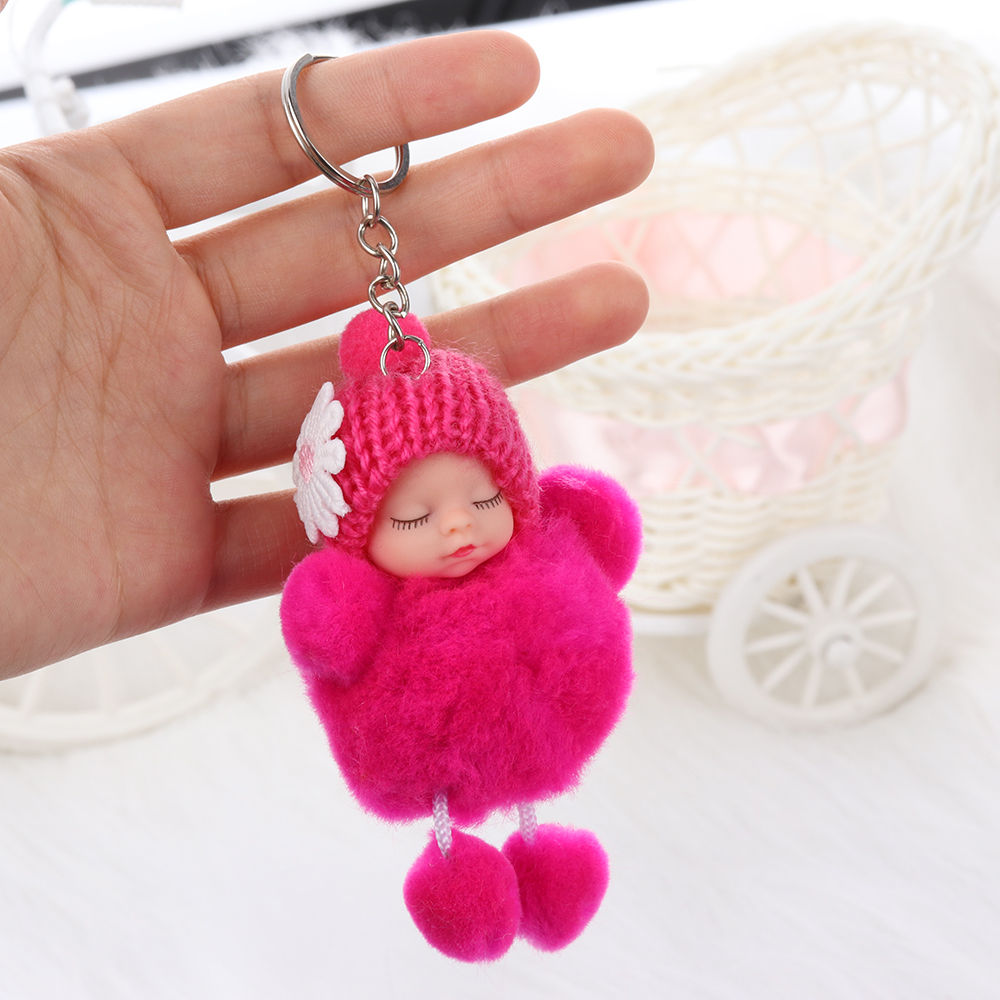 48297ccf07 1PC Girl Woman Faux Fur Pom Pom Fluffy Fur Ball Key Ring Luxury Rabbit  Sleeping Baby Doll Pendant Jewelry For Car Bag Key Holder-in Key Chains  from Jewelry ...