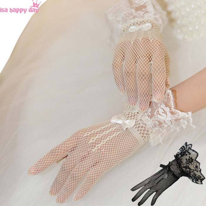 2019 Fashion Bride Wedding Dress Gloves Women White Black Lace Finger Wedding Bridal Evening Party Accessory Elegant Gloves
