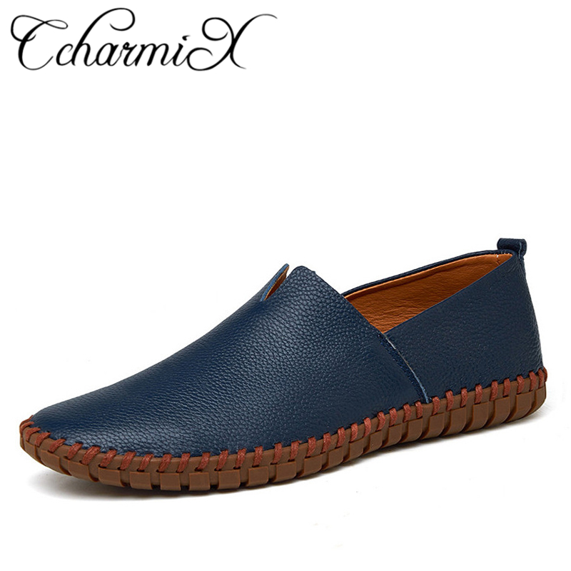 CcharmiX Echtes Kuh leder Herren Loafer Mode Handmade Mokassins Weiche Leder Blau Slip Auf männer Boot Schuh PLUS GRÖßE 38 ~ 47