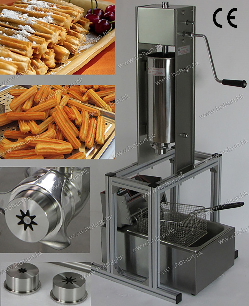 2 in 1 5L Manual Spainish Churros Machine Maker with Support + 6L 110v 220v Electric Deep Fryer 5l stainless steel spanish churro maker fried dough sticks machine with 6l electric fryer commercial churros machine