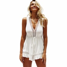 Summer new hot Russian fashion personality temperament sleeveless loose sexy solid color female high waist jumpsuit