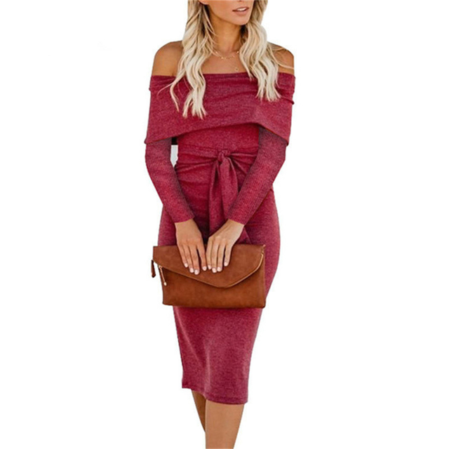 Sexy Club Bandage Bodycon Dress 2018 Women Long Sleeve Autumn Dresses Off Shoulder Party Girl Dress Vestidos Vetement Femme