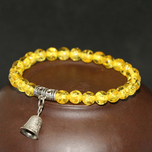 Hot sale original design yellow faux resin beeswax elastic bracelet 6mm round popcorn beads bell pendant jewelry 7.5inch B2135