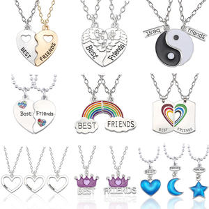 BFF Jewelry Pendants Collier Necklace Women Tai-Chi-Crown Crystal Heart