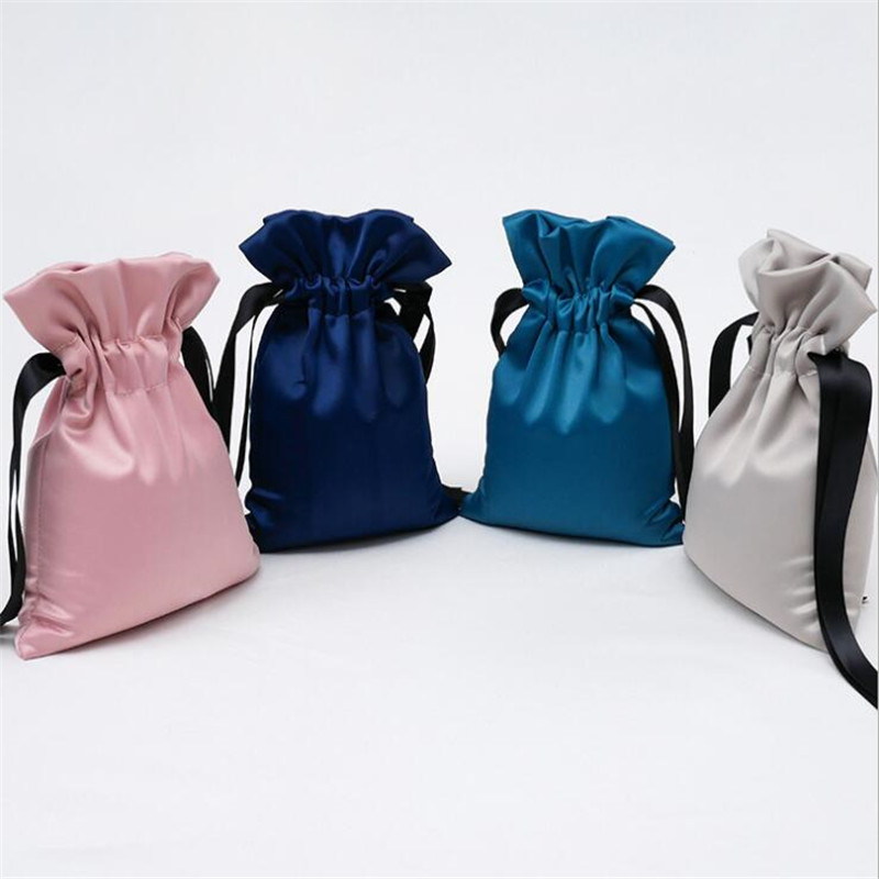 Silk Bag Jewelry Jewelry Gift Packaging Beam Storage Cosmetic Bag Drawstring Closing Cloth Bag Portable Cloth Bag