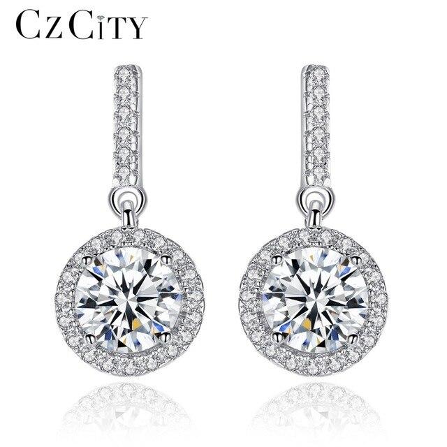Czcity Zircon Real Silver Drop Long Earrings For Women Dangle Hanging Earring 925 Sterling