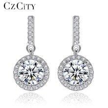 CZCITY Zircon Real Silver Long Earrings for Women Dangle Hanging Earring 925 Sterling-silver Luxury Fine Jewelry Bijouterie