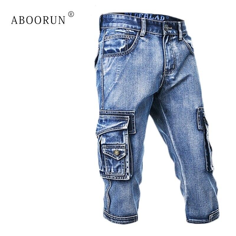 ABOORUN Summer Men's Cargo Denim Shorts Military Multi Pockets Biker Short Jeans For Male X1358