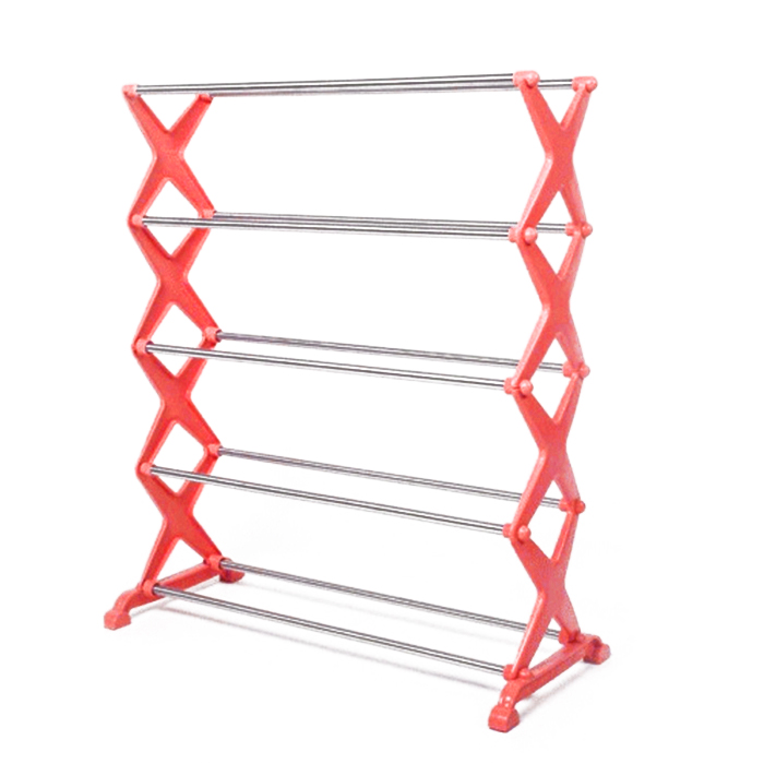 DIY Stainless Steel 5 Tiers Shoes Rack Shelf Simple Utility Combinatorial Shoes Storage Organizer Red diy stainless steel motor universal coupling 5 x 5mm