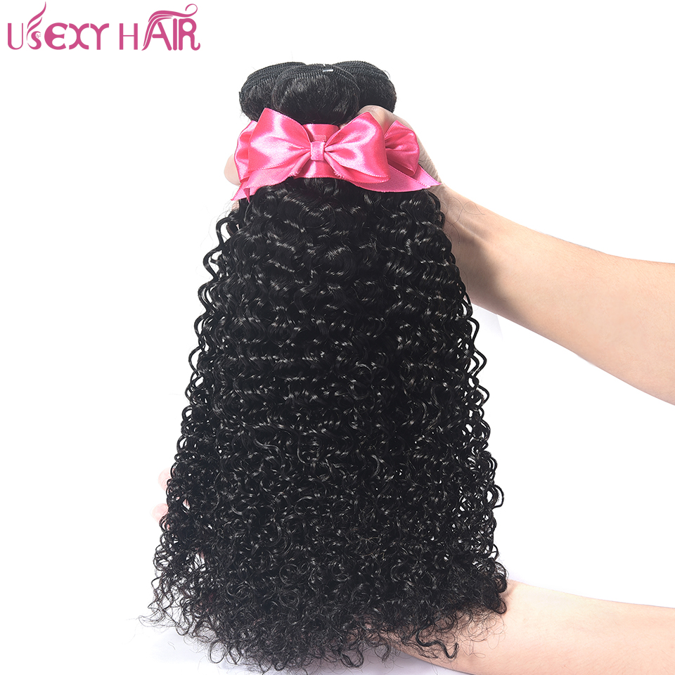 USEXY HAIR 100% Curly Weave Human Hair Brazilian Hair 4 Bundles Natural Color Non Remy Hair Extension Can be Dyed and Bleached