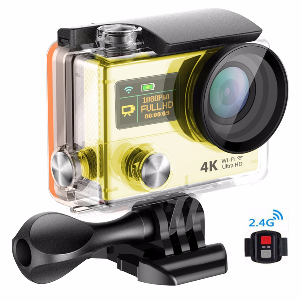 ФОТО super 4k actoin camara, waterproof wifi digital sports camera with dual display under water 30 meter camera free shipping