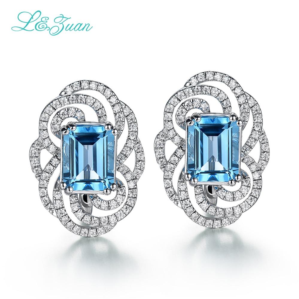 I & Zuan 925 argent Sterling luxe suisse bleu topaze Clip boucles d'oreilles pour les femmes carré pierre accessoires de mode diamant bijoux fins - 3