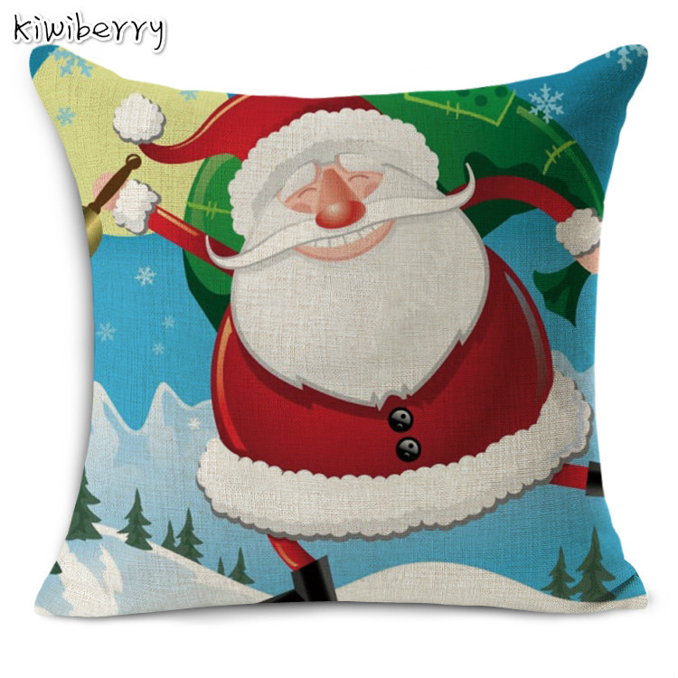 High Quality Cotton Line Christmas Cartoon Snowman Printing Cushion Cover Festival Home Decor Pillow Case Housse De Coussin in Cushion Cover from Home Garden