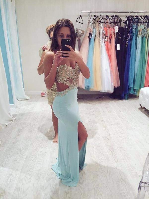 Hot Pinned Baby Blue Evening   Dress   Backless Sweetheart Neckline Sparkly Golden Appliques Chiffon Side Slit Mermaid   Prom     Dresses