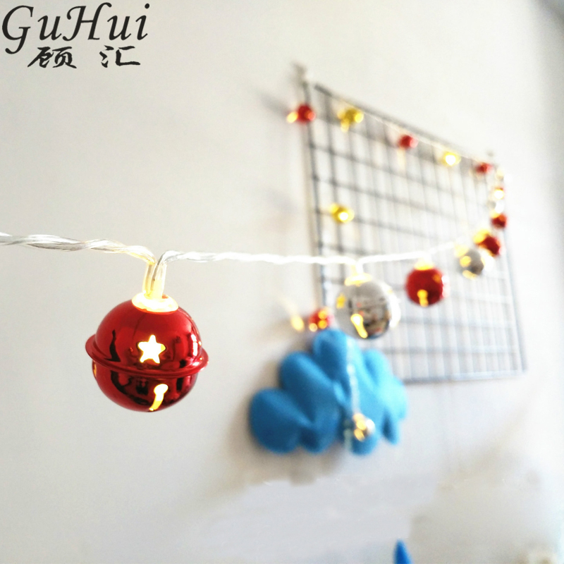 3M 20LED Christmas Tree Pendant Gold Silver Red Bell Lights Festival Xmas Party Wedding Hanging Ornament Patio Decoration Gifts