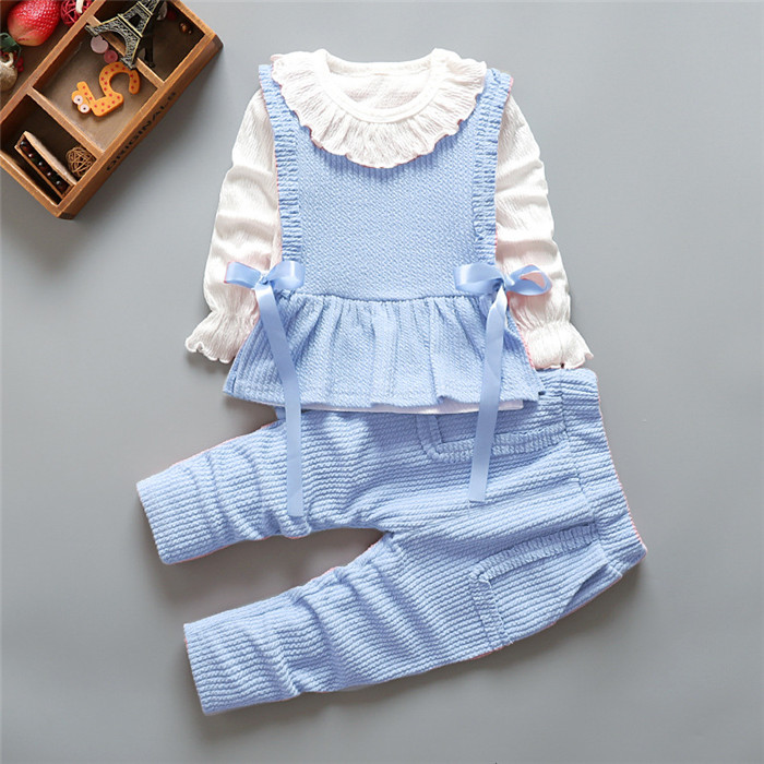 Baby girl suit autumn clothes new girl baby baby boy cartoon bow lace cute sweet Korean version of cotton baby three-piece suit