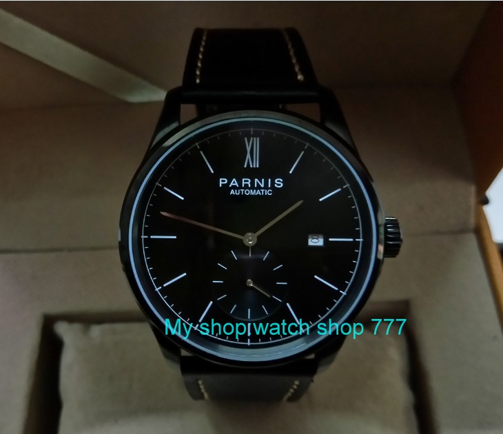 40mm PARNIS black dial Automatic Self-Wind Mechanical movement men's watch Auto Date PVD case Mechanical Wristwatches 120a tevise original watch automatico stainless steel bracelet automatic self wind watches mechanical auto date wristwatches 8122s
