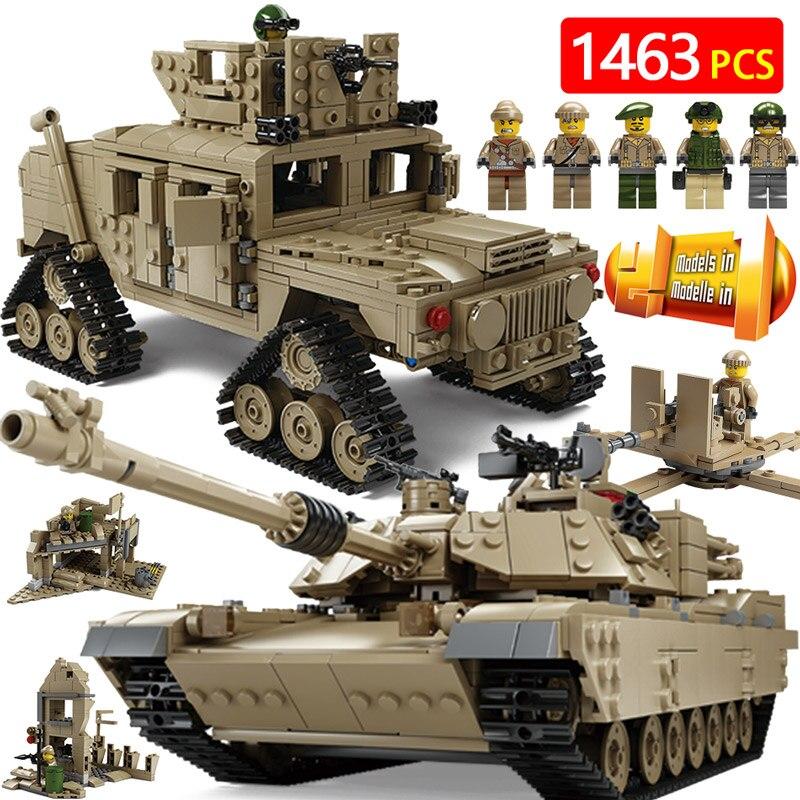 Créateur Blocs Technique Compatible LegoINGLYS Militaire NOUS Principale station Réservoir M2A1 Armes véhicule Blindé Briques Jouets Pour Enfants