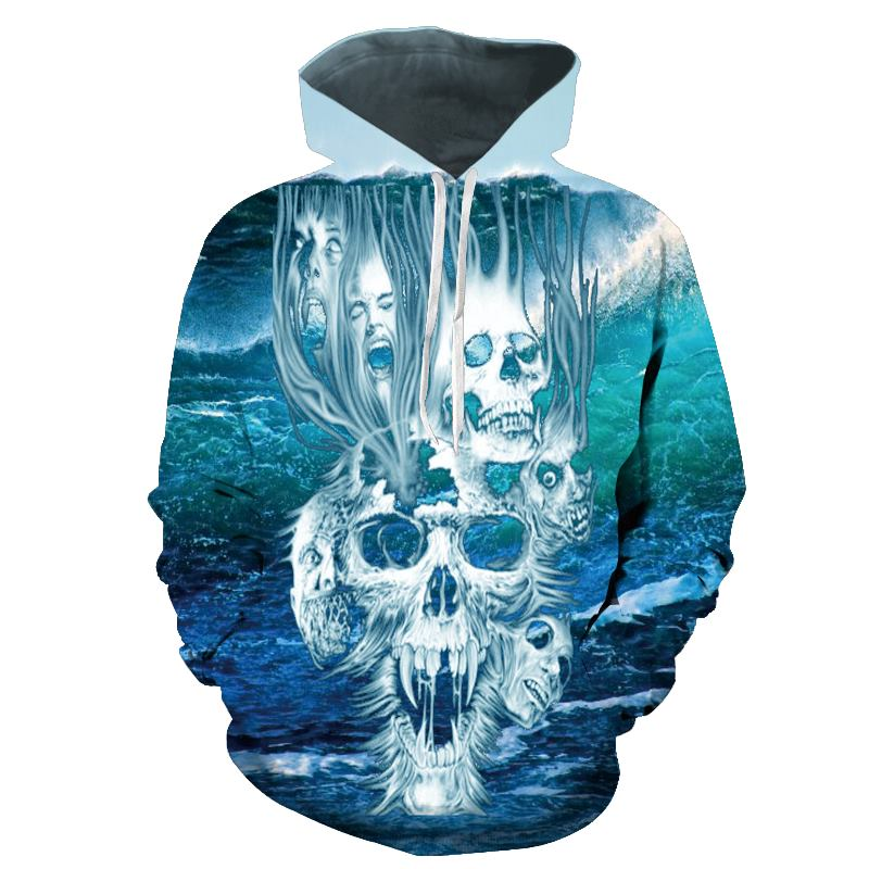 2018 3d Hoodies Men Hoody Sweatshirts Melted Skull 3d Print Fashion Casual Pullovers Streetwear Tops Spring Autumn Hot Hipster