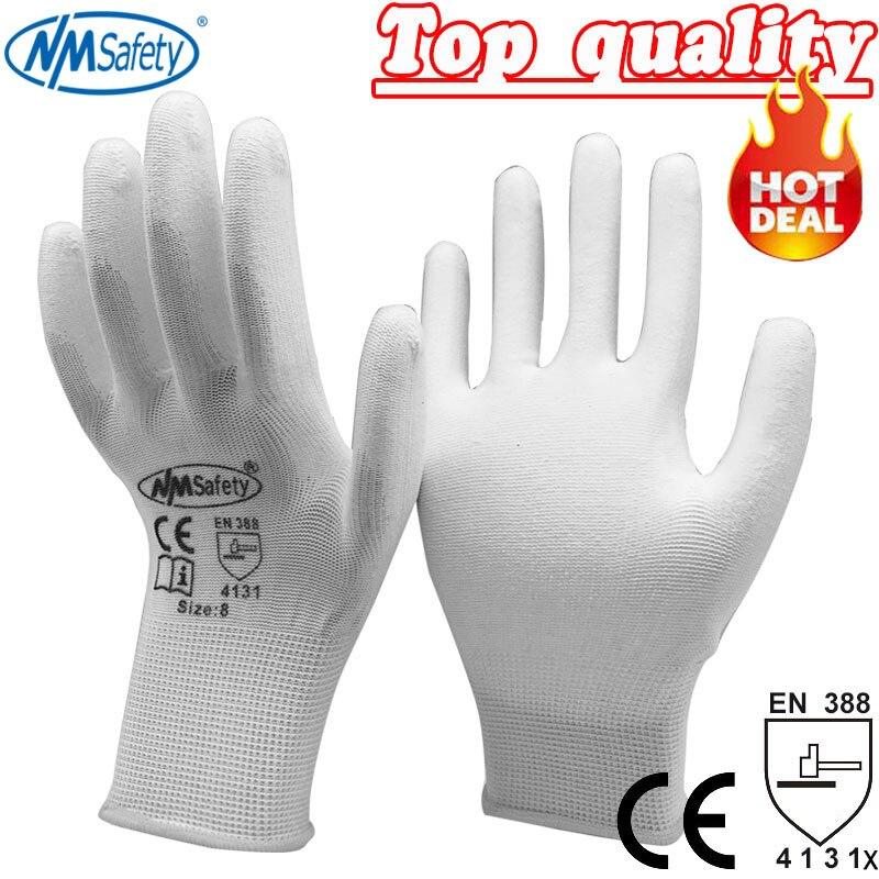 NMSafety 13 gauge nylon PU coated/nylon work glove/Nylon knitted PU Palm Coated work PU glove prosport pu