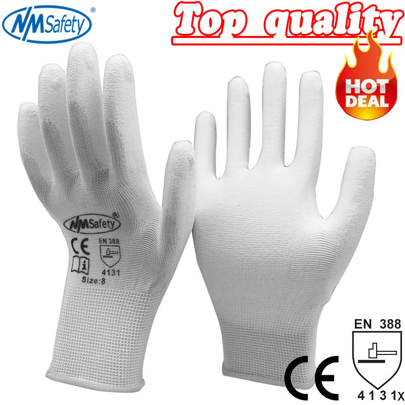 NMSafety polyester/nylon work glove 12 pairs knitted PU coated palm safety protective glove
