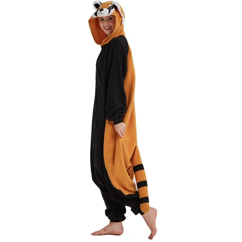 Women Onesie Raccoon Pajama Funny Cute Animal Party Suit Unisex Adult Winter Brown Black Jumpsuit Warm Sleep Wear Couple Pyjamas (4)