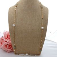 GE063002 36 White Keshi Pearl CZ Pave Hamsa Long Chain Necklace