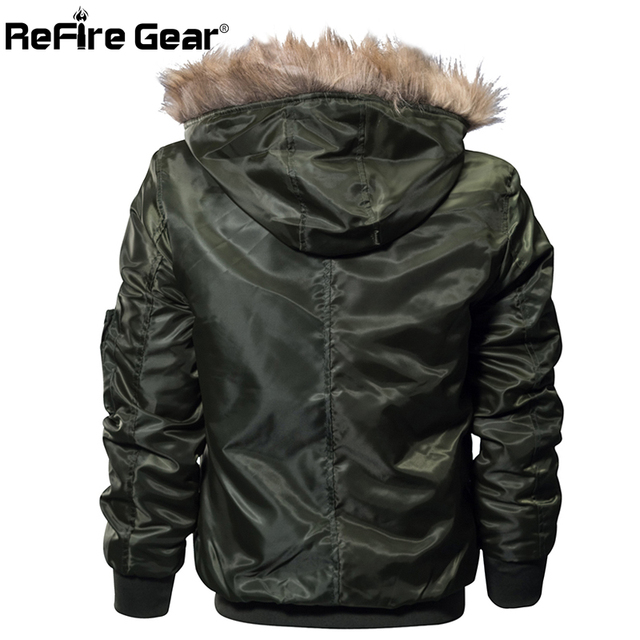 ReFire Gear Winter Military Bomber Jacket Men Air Force Army Tactical Jacket Warm Wool Liner Outerwear Parkas Hoodie Pilot Coat