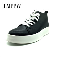 Top Quality Autumn Mens Casual Shoes Men High Top Shoes Fashion Lace Up Leather Casual Shoes