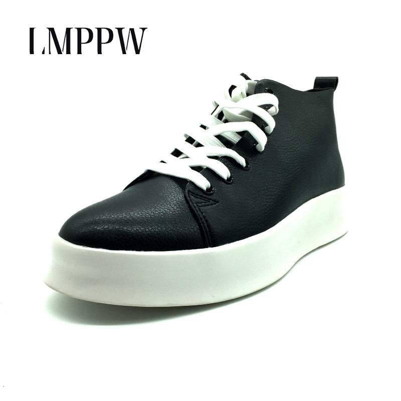 Top Quality Autumn Mens Casual Shoes Men High Top Shoes Fashion Lace Up Leather Casual Shoes Black White Red Men Flat Boots 2A spring autumn high quality patchwork future leather high top men casual shoes lace up mixed colors flats ankle wrap mens shoes