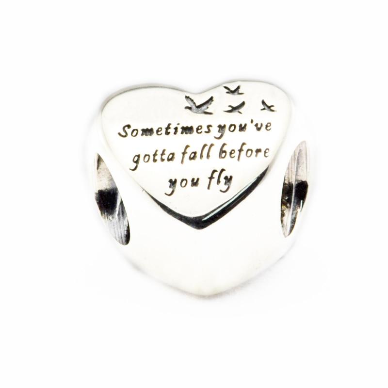 Fits Pandora Bracelets Heart of Freedom Charm 100% 925