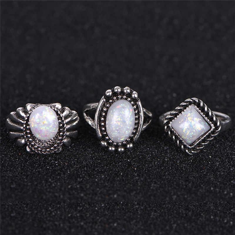 8 шт./компл. натуральный огненный опал камень чистого серебра 925 тонкая полоска кольца Для женщин белый Цвет 100% реальные 925 пробы Серебряные ювелирные изделия