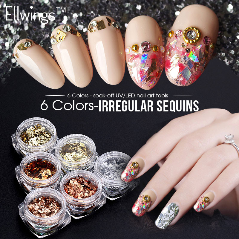 Ellwings 1 Pcs Shimmer Sequin Nail Art Decoration Multi-color Illusion Design Glitter UV Gel Nail Polish Nail Art Manicure