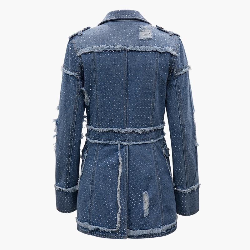 Forage Femmes Haut Jean Tout Getsring Pour En Veste Match Mince Blue À Longues Le Manches Trous Survêtement Femme Printemps Chemise srhQdtC