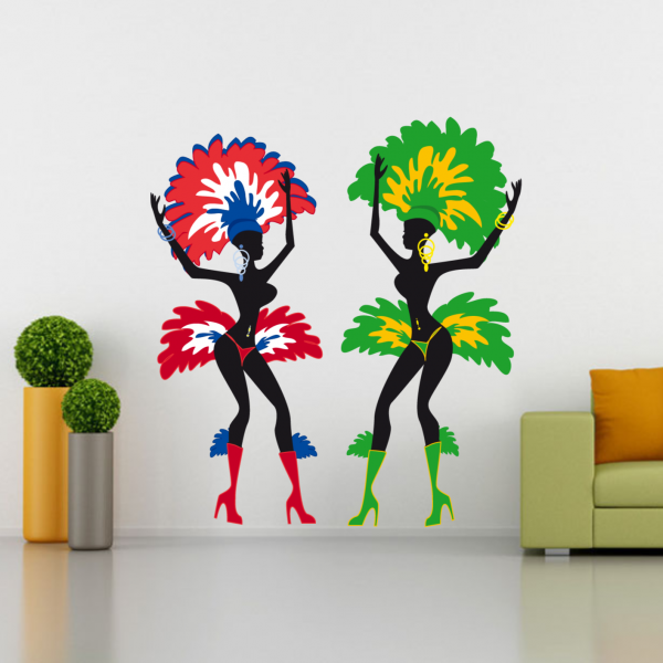 Brazil Brasil Dancing Girl Removable Fantastic Wall Art Decal Wall ...