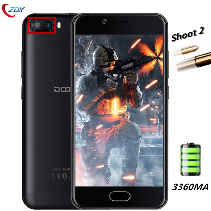 DOOGEE Shoot 2 Smartphone 5.0 inch Android 7.0 MT6580A Quad Core Mobile Phone 1GB/2GB RAM 8GB/16GB ROM 3G Dual Rear Camera Phone