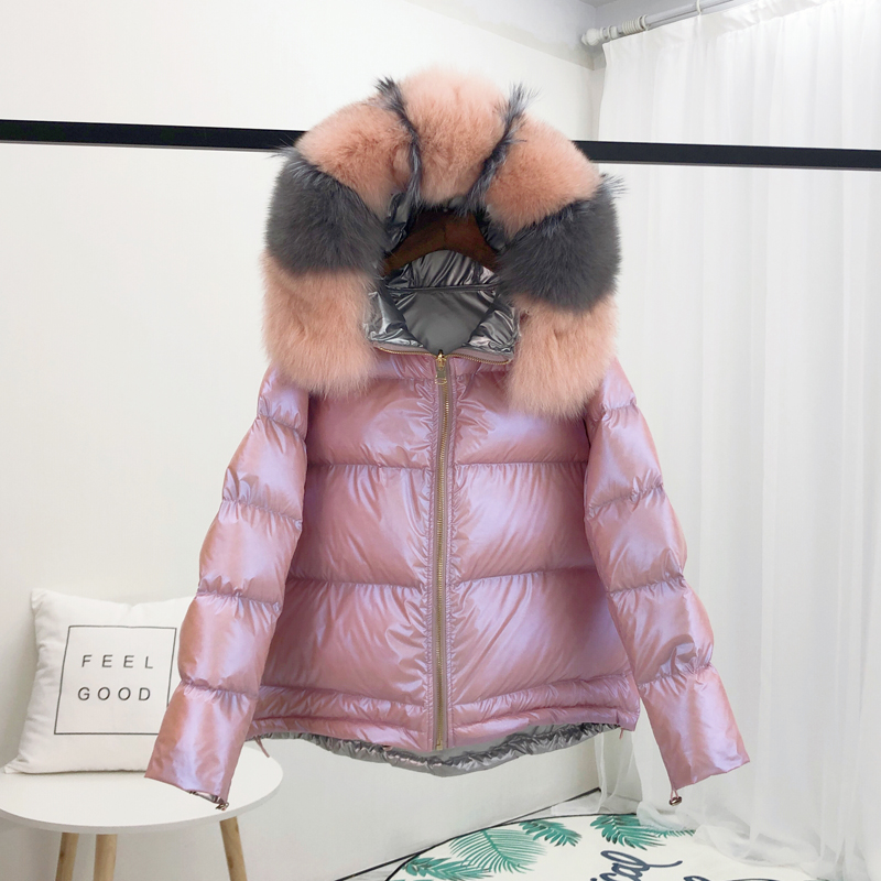 Real Natural Fox Fur 2019 Winter Jacket Women Female Warm Parka Real Fur   Coat   Loose   Down     Coat   White Duck   Down   Jacket Waterproof