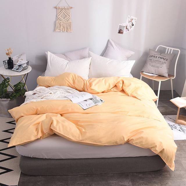 Elegant Apricot Yellow Solid Color 100 Cotton Soft Duvet Cover Queen Size Quilt Case