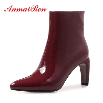 AnmaiRon New Arrival women real leather pointed toe zipper high heel ankle boots Big size 34-40 botas mujer ZYL1276