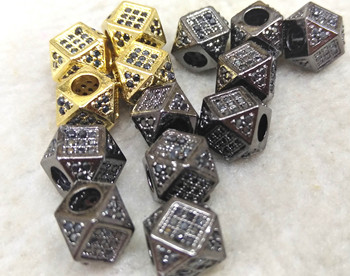 10pcs 8mm Hematite CZ Six-sided/Hexagonal Tube Clear Micro Pave Connector Beads, Crystal spacer Beads--large Hole