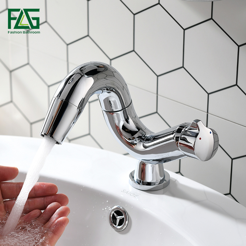 FLG Bathrom Faucet For Sink Hot Cold Water Tap Contemporary 360 Degree Rotate Brass Tap Single Lever Wash Basin Faucet torneira-in Basin Faucets from Home Improvement    2
