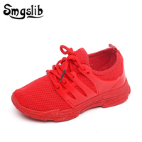 Tênis infantis  tênis para corrida  meninos  esportivo  preto  vermelho  sapatos de malha  primavera/outono 2020
