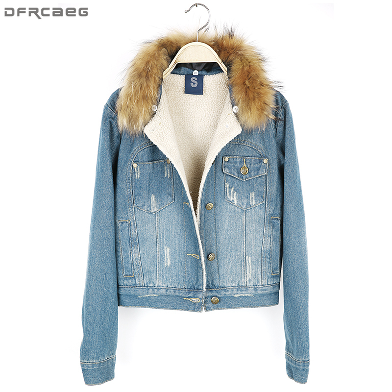 2018 Autumn Winter Fashion Women Denim Fur Jackets Raccoon Fur Collar Ladies Coats High Quality Slim