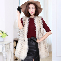 Beautiful new fashion natural raccoon dog fur vest women long style whole skin vests waistcoats 2018 autumn and winter