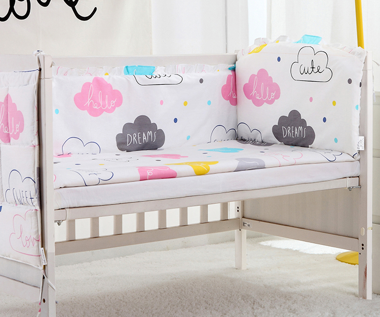 5PCS Cotton Crib Bed Linen Baby Bedding Set Cotton Baby Children Bedding Set New design for girls boys bed,(4bumper+sheet)